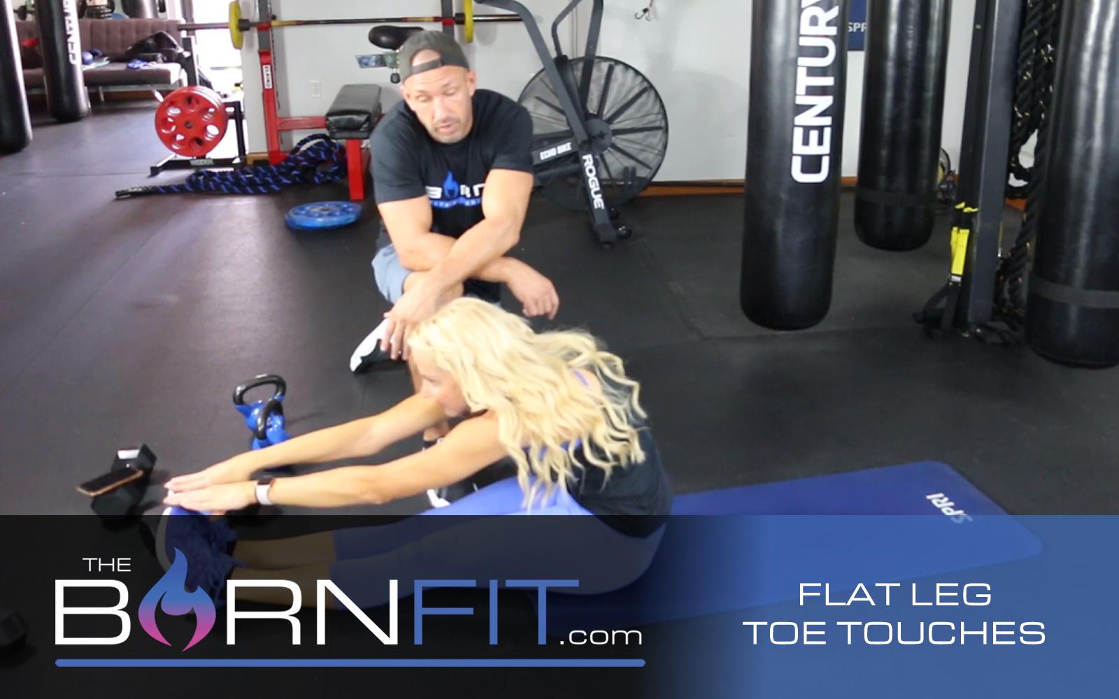 Flat leg toe touches workout
